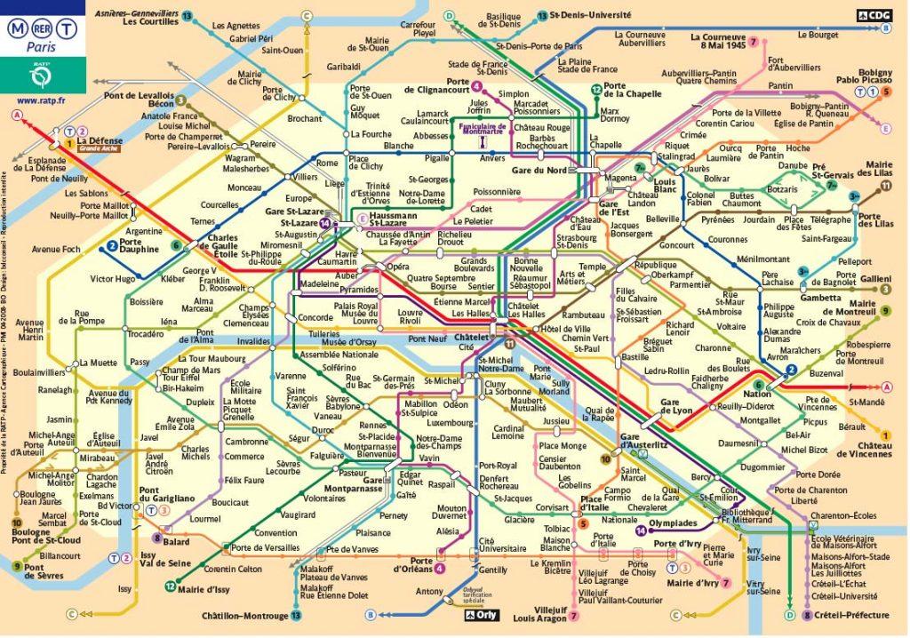 mappa metro parigi