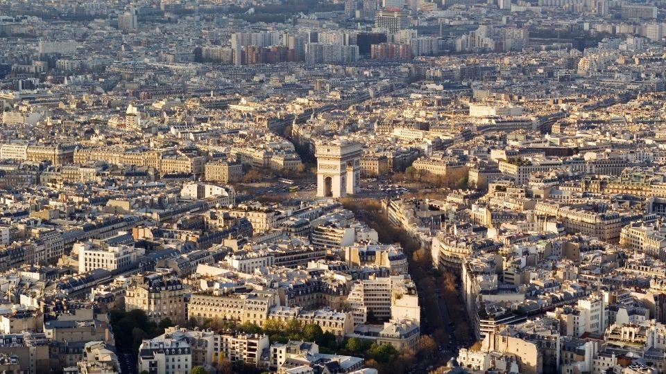 Arco di Trionfo di Parigi visto dall'alto
